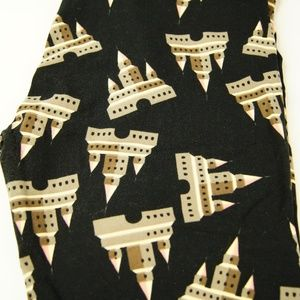 Lularoe TC Leggings Black Sandcastles Beach Castle